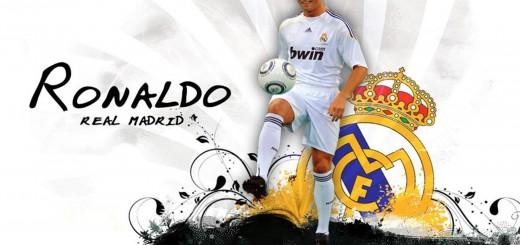 wallpaper de Crisitano Ronaldo y el escudo del Real Madrid