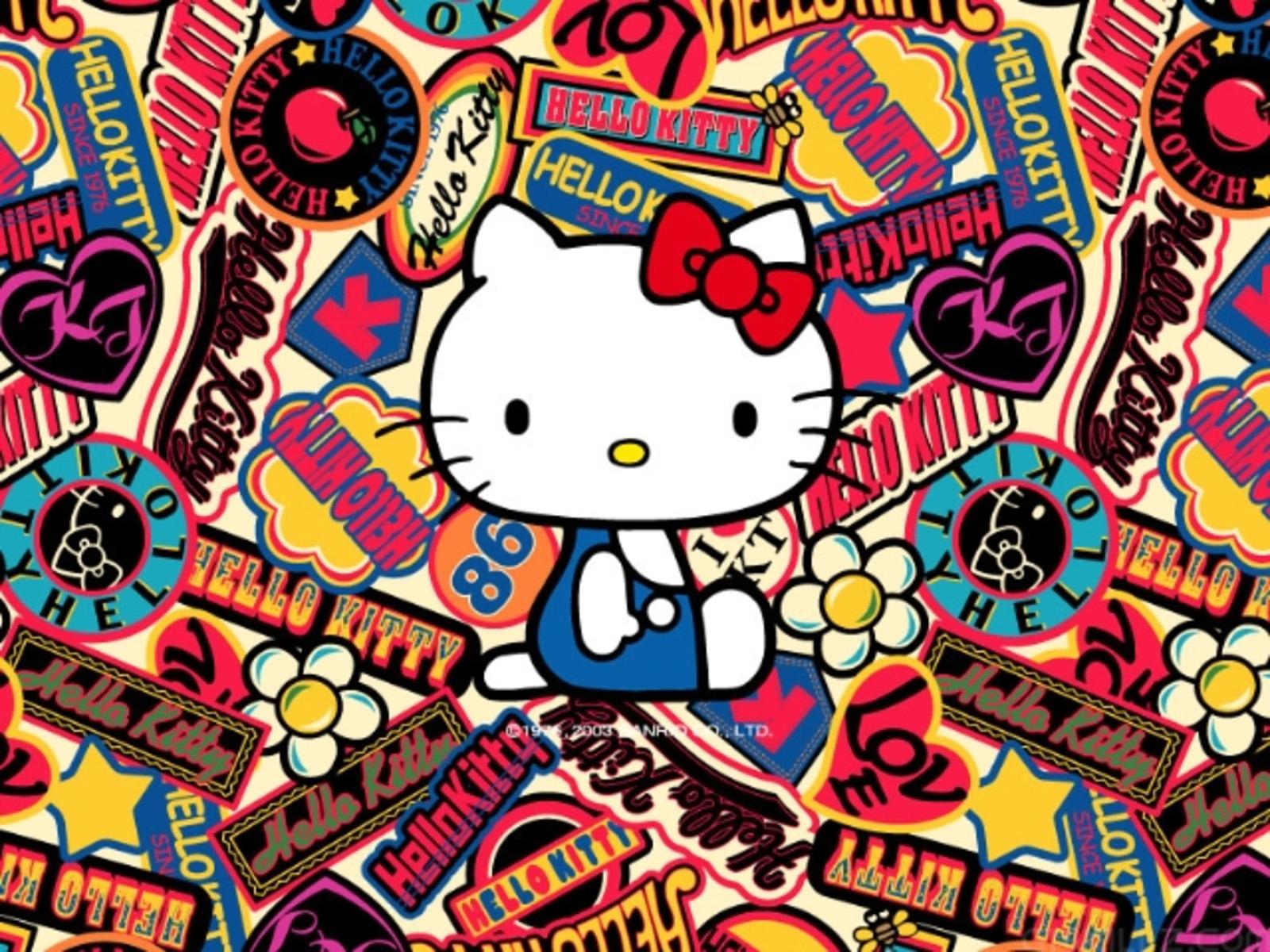wallpaper hd de hello kitty rodeado de estolas con su nombre
