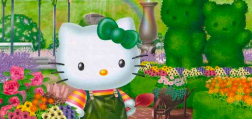 wallpaper de Hello Kitty en el jardin