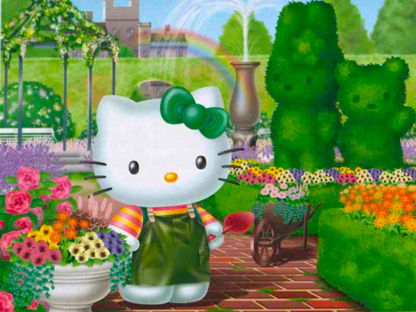 wallpaper de Hello Kitty en el jardin