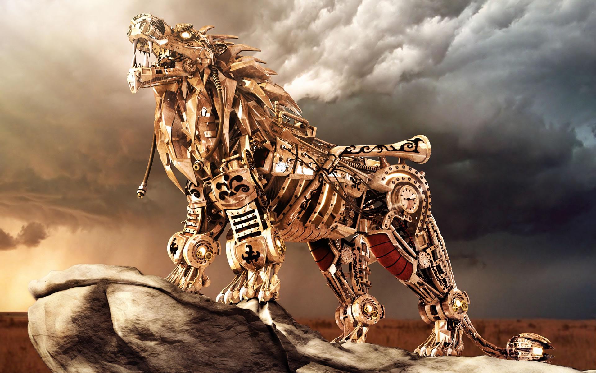 wallpaper 3d, leon mecanico