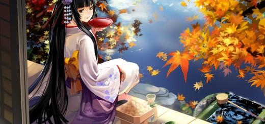 wallpaper manga con chica en lago