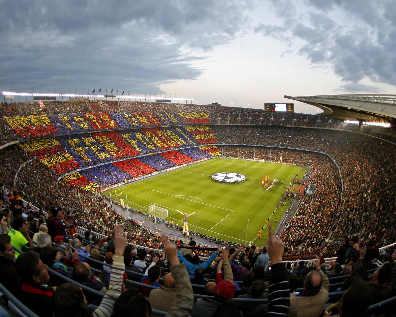 wallpaper del estadio nou cam en un partido de champions