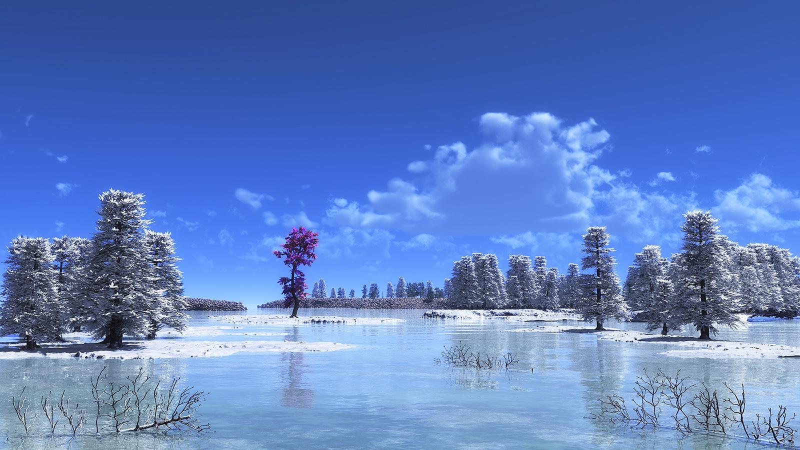 wallpaper en 3D paisaje nevado