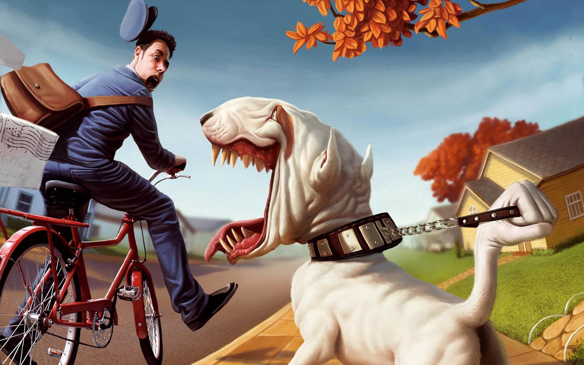 wallpaper hd muy gracioso con un perro y el cartero