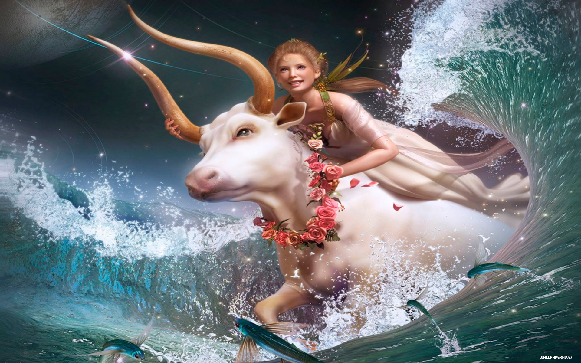 wallpaper hd de fantasia con una hada subida en toro blanco
