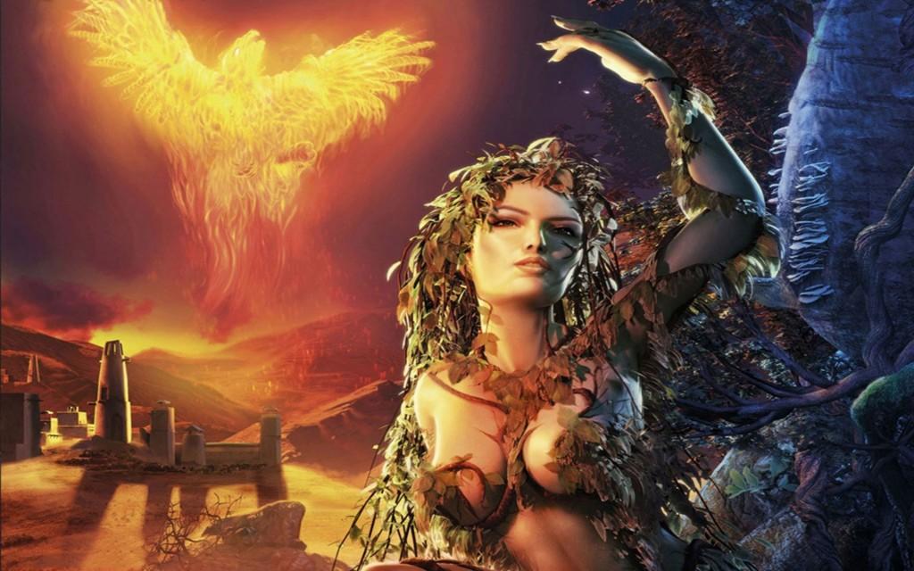 wallpaper hd de fantasia con mujer y ave fenix