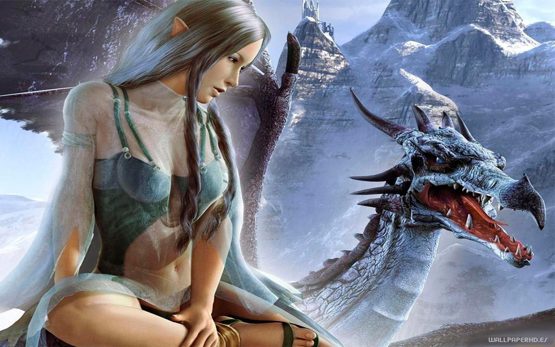 wallpaper de hada sobre dragon