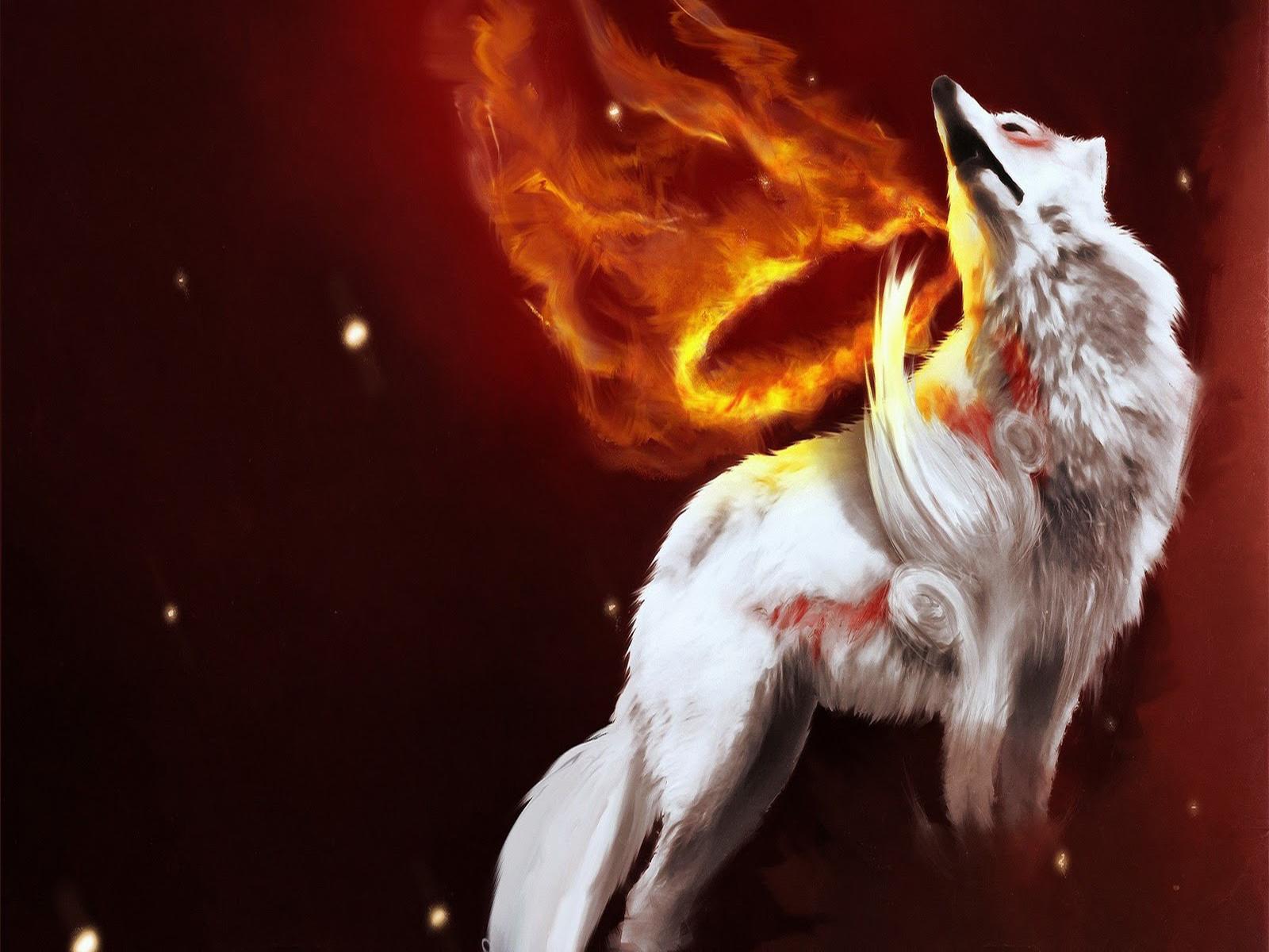 wallpaper hd un oleo con un lobo blanco
