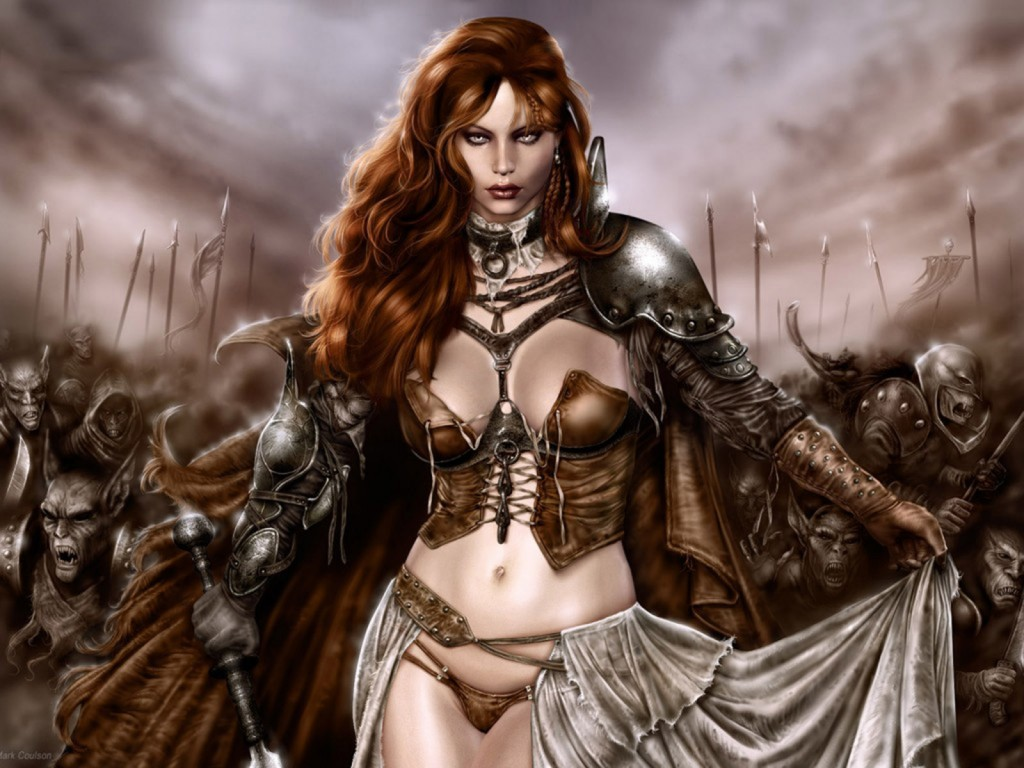 wallpaper hd con una mujer y paisaje de fantasía