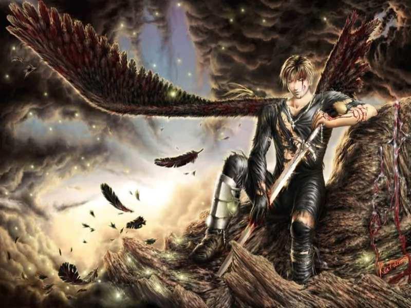wallpaper hd de fantasia con un hombre con alas