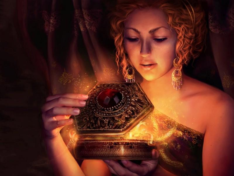 preciosa mujer con una caja fantástica