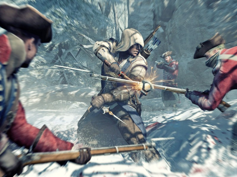 wallpaper hd de assassins creed 3. en lucha contra dos soldados