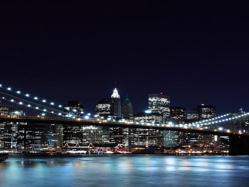 puente de new york de noche