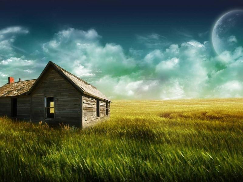 imagenes de paisajes con casa en medio del campo