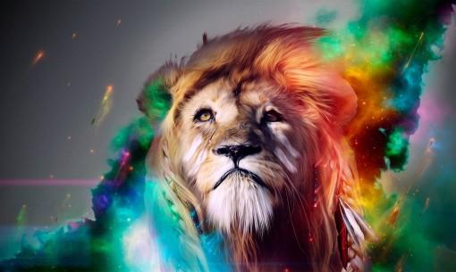 leon con luminosidades coloridas
